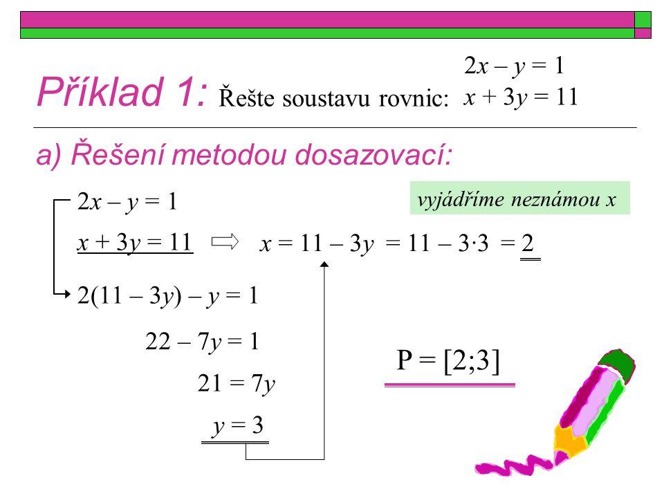 Příklad 1: a) Řešení metodou dosazovací: P = [2;3] 2x – y = 1